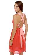 Melon Patch Coral Color Block Dress