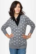 Dot-O-Rama Grey Polka Dot Cardigan Sweater