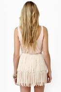 Start Your Fringe-ines! Cream Fringe Mini Skirt