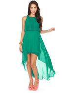 Grand Entrance High-Low Green Dress