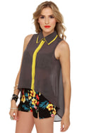 Dubbed Version Grey Button-Up Top