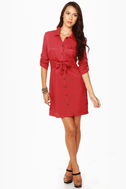 Tulle Day Camp Red Shirt Dress