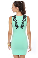 Motel Julie Black and Mint Green Dress