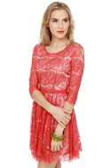 Cherry Harvest Red Lace Dress