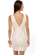 Midas Sign Ivory and Gold Striped Dress