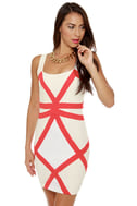 Hot Lines Coral and White Dress