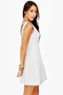 Cheer Factor Sleeveless White Dress