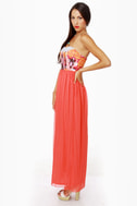 Skip to My Luau Strapless Coral Red Maxi Dress