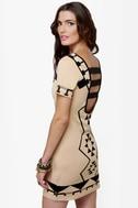 The Shape I'm In Beige Print Dress