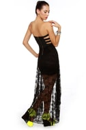 Inescapable Lace Strapless Black Dress