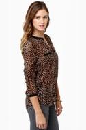 Olive & Oak One Feline Day Sheer Leopard Print Top