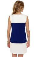 Tailor Shift Blue and White Shift Dress