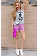 California Girls Acid Dye Purple Denim Shorts
