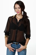 Bead-sy Bee Sheer Black Button-Up Top