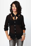 Back to Skull Black Button-Up Top