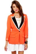 Hearts Ablaze Coral Orange Blazer