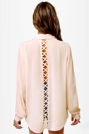 Sooner or Lattice Pink Button-Up Top