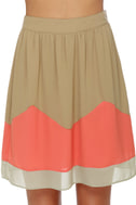 Roll Call Taupe and Coral Mini Skirt