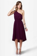 Need For Bead One Shoulder Beaded Purple Dress