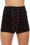 Tripp NYC High-Waisted Black Corset Shorts