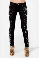 Tripp NYC Black Rock Studded Black Skinny Jeans