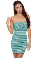 Beauty and the Beach Striped Green Bandage Dress