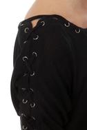 Major Lacer Short Sleeve Black Top