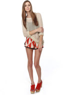 Anasaz-Me Print Red Shorts