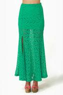 Crocheted Loving Teal Maxi Skirt