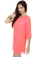 C\\\'mon Get Happy One Shoulder Coral Pink Dress