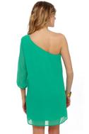 C\'mon Get Happy One Shoulder Teal Dress