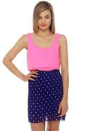 Hits the Spot Blue and Pink Polka Dot Dress