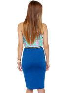 Building Block Blue Pencil Skirt