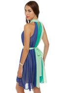 The Stripe Aquatic Blue Halter Dress