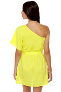 Cute and Kissable One Shoulder Yellow Dress
