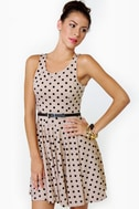 Happy Dots Beige Polka Dot Dress