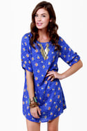 Freshly Picked Blue Floral Print Shift Dress
