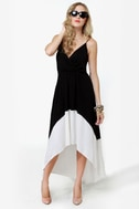 What Goes Around High Low Ivory and Black Dress