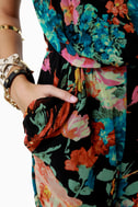 Gypsy Junkies Ziggy Disco Floral Print Jumpsuit