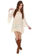 Gypsy Junkies Mimi Daisy Sheer Cream Tunic