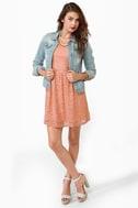 Just Peachy Dusty Peach Lace Dress