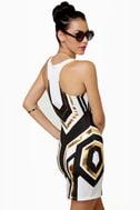 Mara-Tron Race White Print Dress
