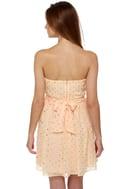Golden Apples of the Sun Strapless Peach Dress