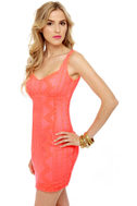 Ciao Baby Neon Coral Lace Dress