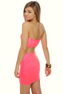 Cutting In Strapless Neon Pink Dress
