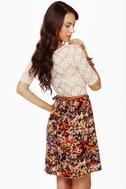 Fleur du Jour Lace and Floral Print Dress