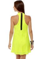 Highlight the Way Neon Yellow Halter Dress