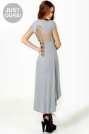LULUS Exclusive Cross to Bare Grey Midi Dress
