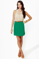 Game of Croquet Beige and Sea Green Halter Dress