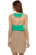 Danielle\'s Diner Taupe and Teal Dress